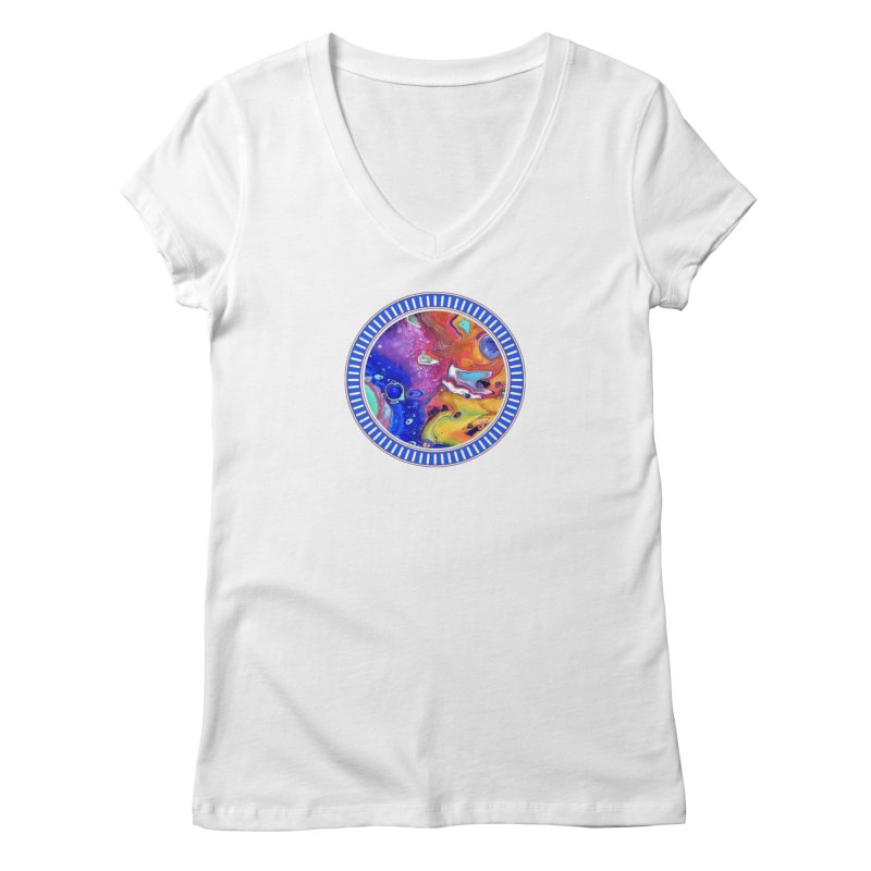 Wild and Crazy Acrylic Flow Women's Regular V-Neck by Creations of Joy's Artist Shop