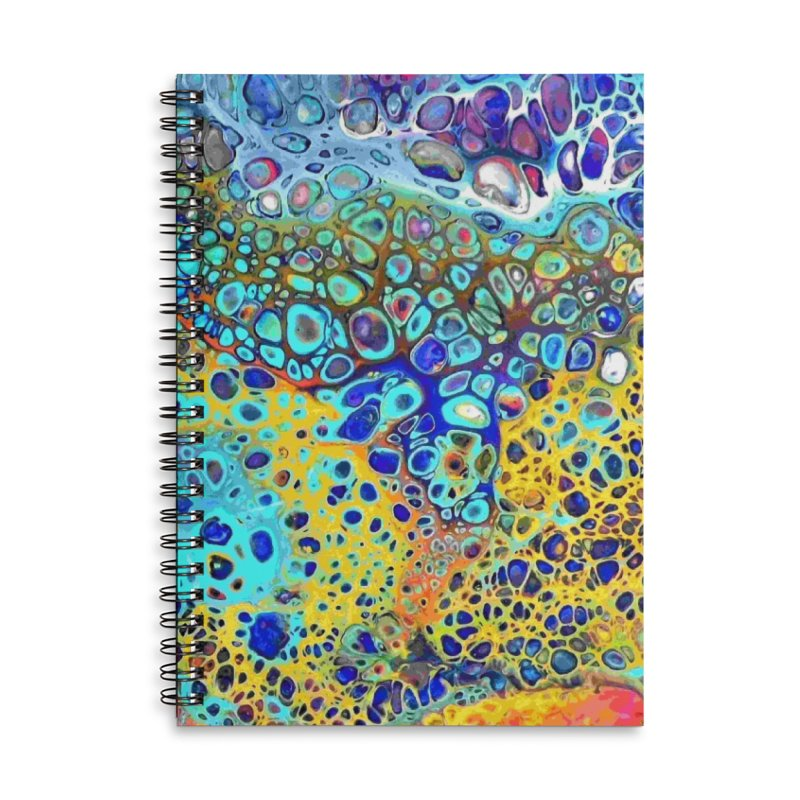 Turquoise Fizz Acrylic Flow Accessories Lined Spiral Notebook by Creations of Joy's Artist Shop