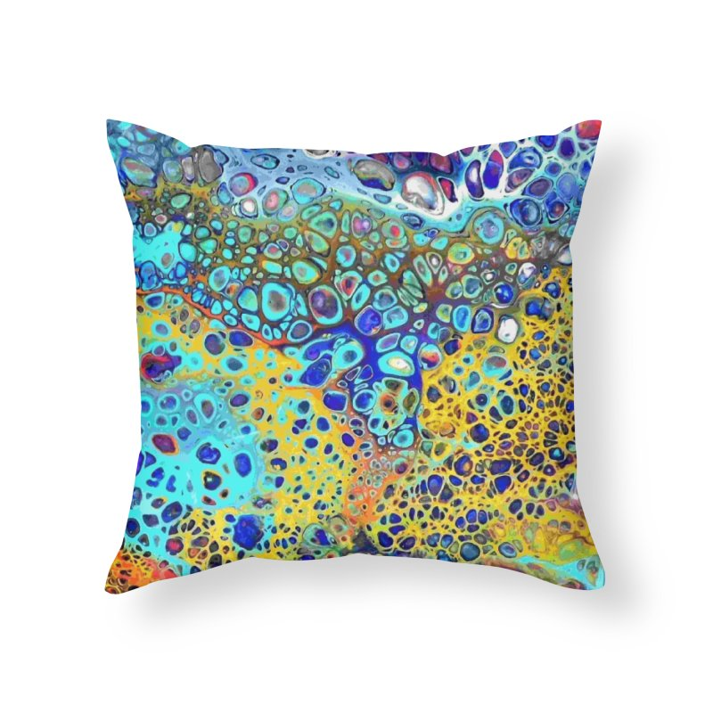 Turquoise Fizz Acrylic Flow Home Throw Pillow by Creations of Joy's Artist Shop