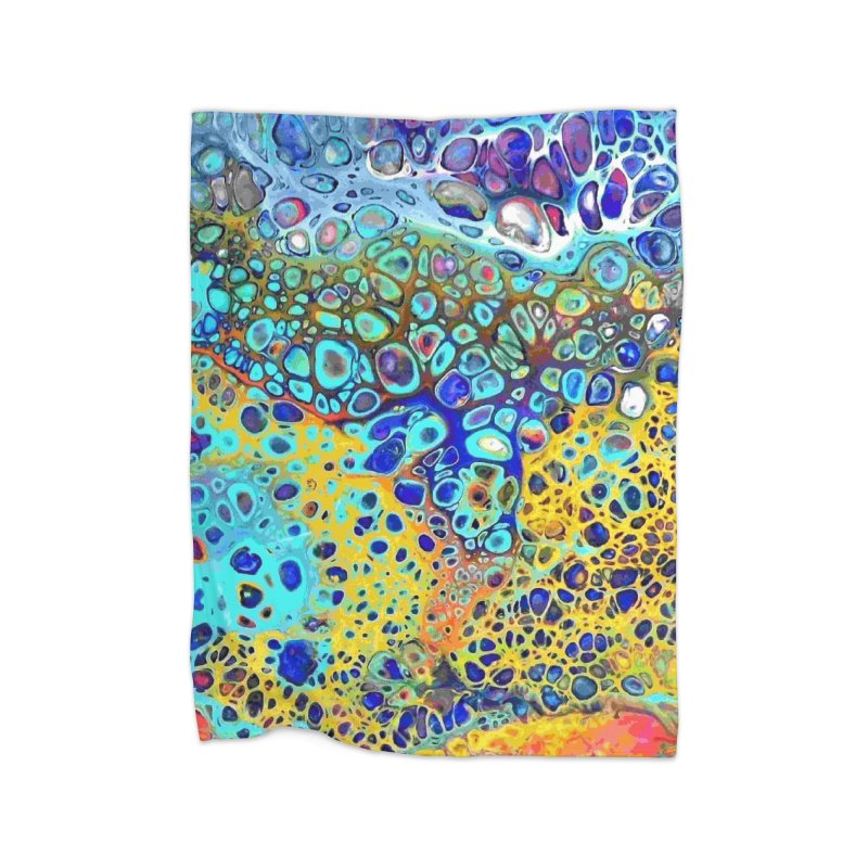Turquoise Fizz Acrylic Flow Home Blanket by Creations of Joy's Artist Shop