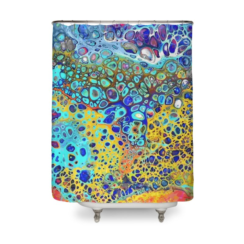 Turquoise Fizz Acrylic Flow Home Shower Curtain by Creations of Joy's Artist Shop