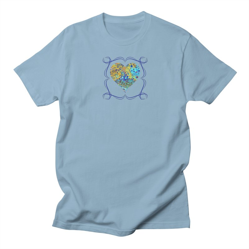 Turquoise Fizz Acrylic Flow in Men's Regular T-Shirt Light Blue by Creations of Joy's Artist Shop