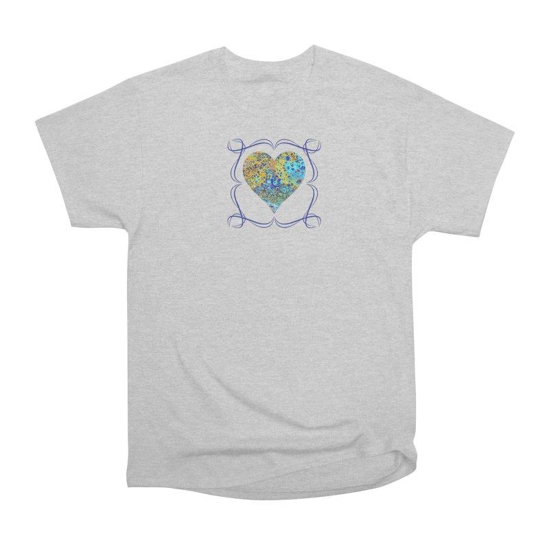 Turquoise Fizz Acrylic Flow Men's Heavyweight T-Shirt by Creations of Joy's Artist Shop