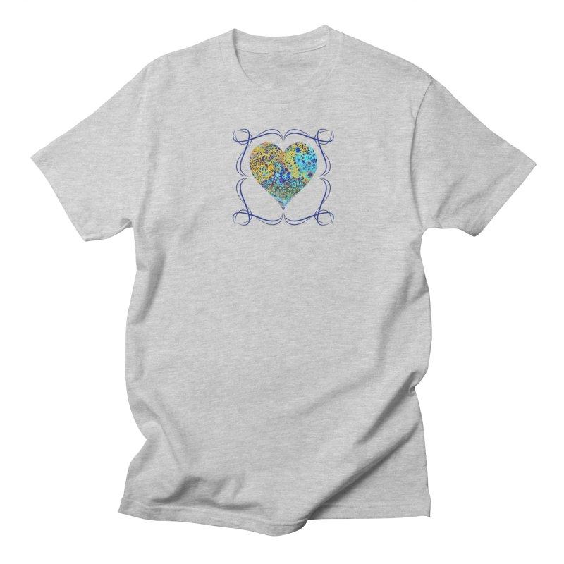 Turquoise Fizz Acrylic Flow Men's Regular T-Shirt by Creations of Joy's Artist Shop