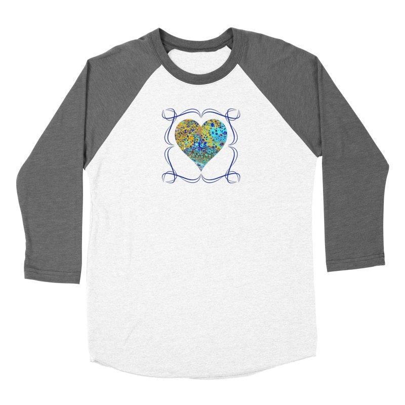 Turquoise Fizz Acrylic Flow Women's Baseball Triblend Longsleeve T-Shirt by Creations of Joy's Artist Shop