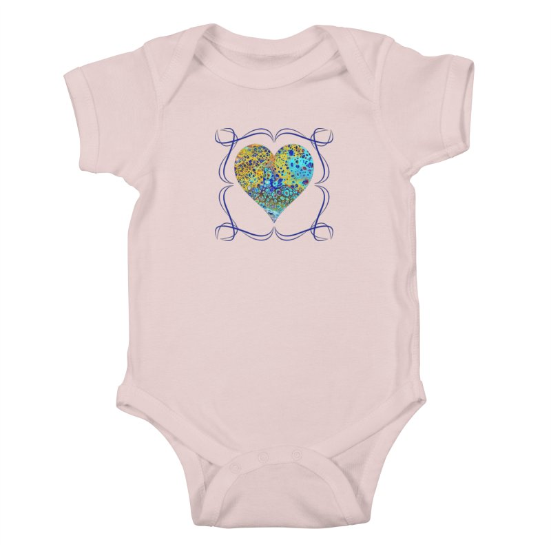 Turquoise Fizz Acrylic Flow Kids Baby Bodysuit by Creations of Joy's Artist Shop