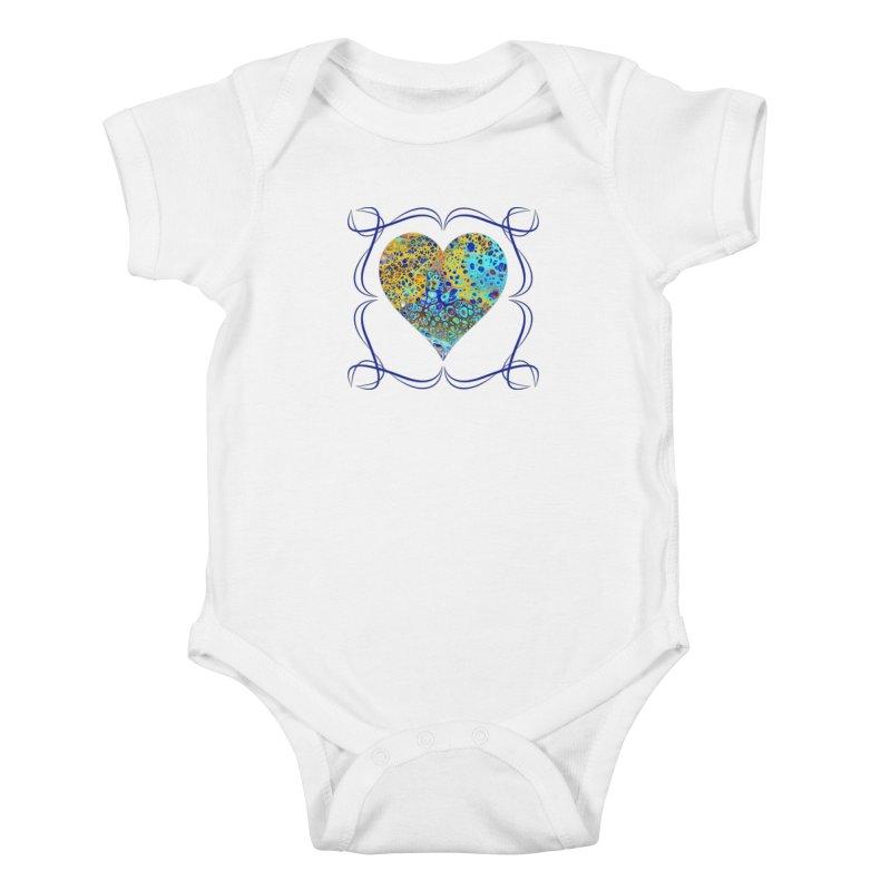 Turquoise Fizz Acrylic Flow Kids Baby Bodysuit by Creations of Joy's Artist Shop