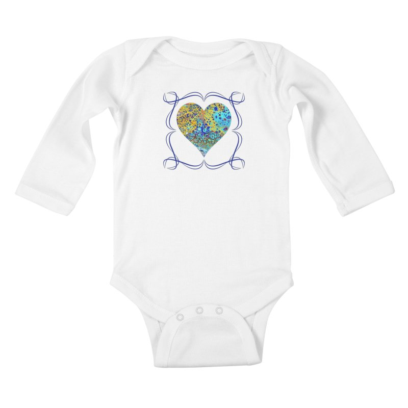 Turquoise Fizz Acrylic Flow Kids Baby Longsleeve Bodysuit by Creations of Joy's Artist Shop