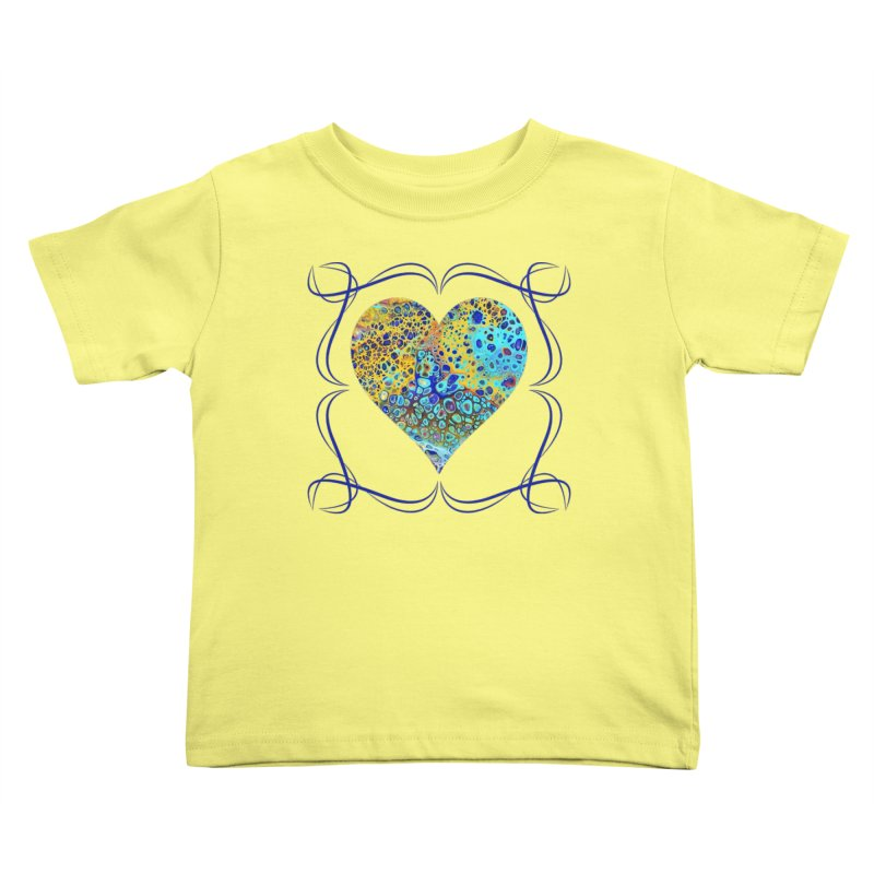 Turquoise Fizz Acrylic Flow Kids Toddler T-Shirt by Creations of Joy's Artist Shop