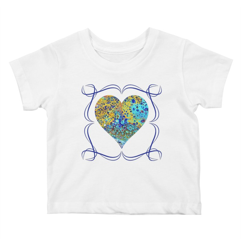 Turquoise Fizz Acrylic Flow Kids Baby T-Shirt by Creations of Joy's Artist Shop