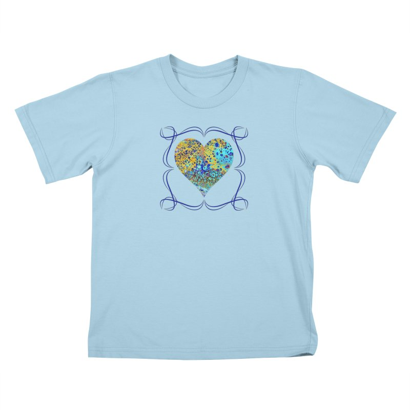 Turquoise Fizz Acrylic Flow Kids T-Shirt by Creations of Joy's Artist Shop