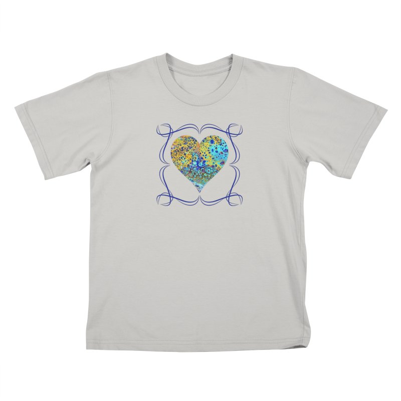 Turquoise Fizz Acrylic Flow Kids T-Shirt by Creations of Joy's Artist Shop