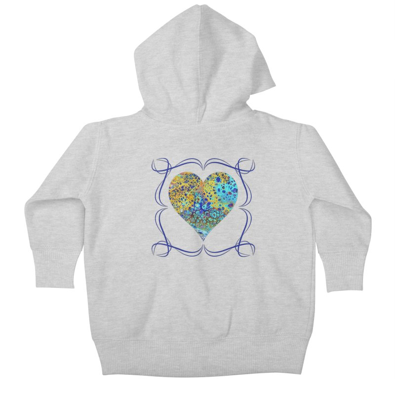 Turquoise Fizz Acrylic Flow Kids Baby Zip-Up Hoody by Creations of Joy's Artist Shop