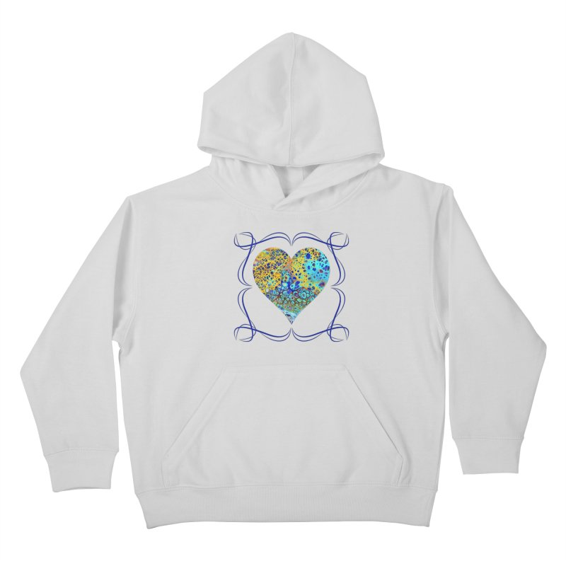 Turquoise Fizz Acrylic Flow Kids Pullover Hoody by Creations of Joy's Artist Shop