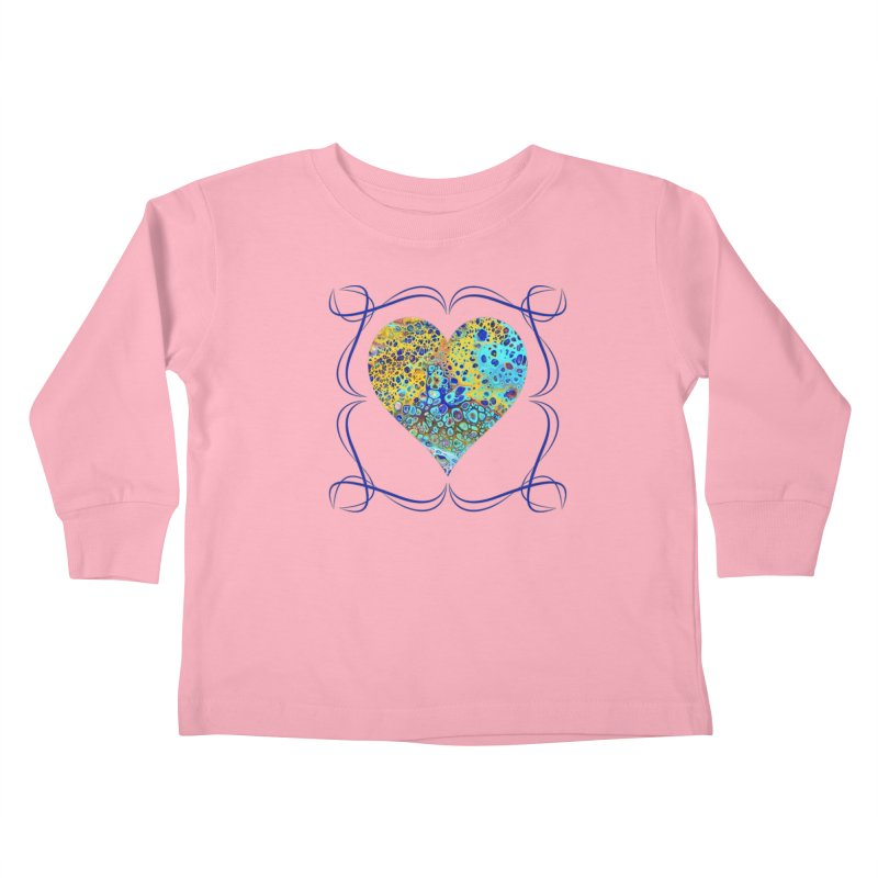 Turquoise Fizz Acrylic Flow Kids Toddler Longsleeve T-Shirt by Creations of Joy's Artist Shop
