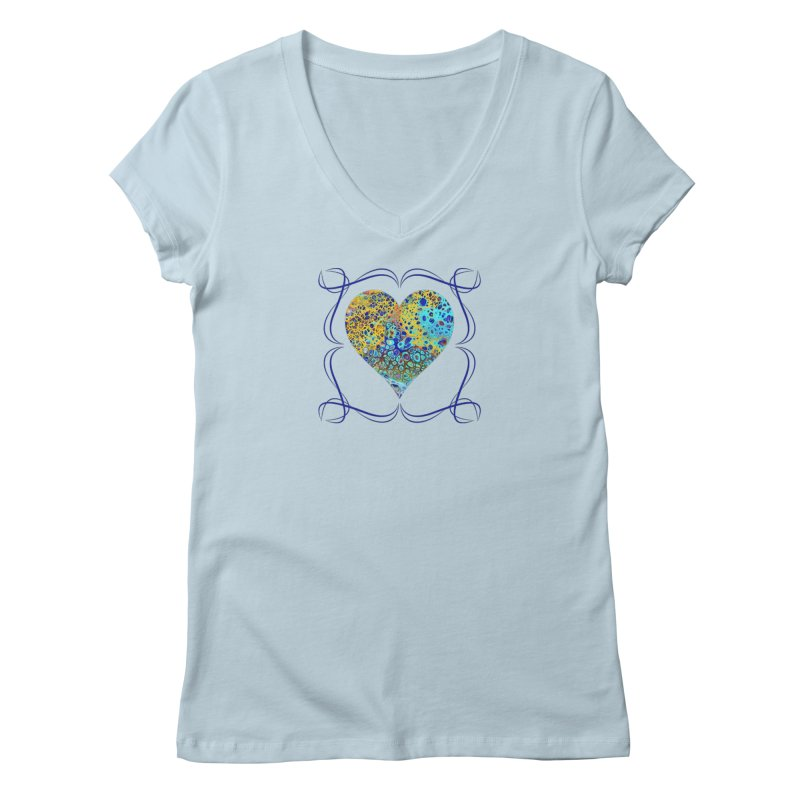 Turquoise Fizz Acrylic Flow in Women's Regular V-Neck Baby Blue by Creations of Joy's Artist Shop