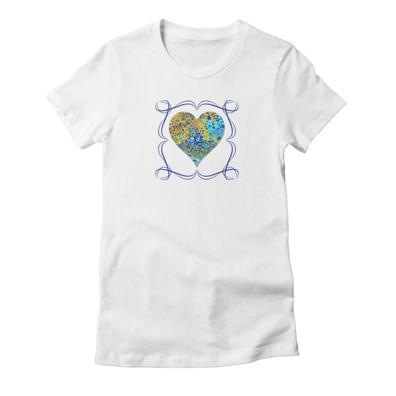 Turquoise Fizz Acrylic Flow in Women's Fitted T-Shirt White by Creations of Joy's Artist Shop