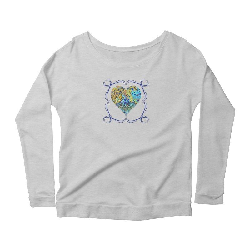 Turquoise Fizz Acrylic Flow Women's Scoop Neck Longsleeve T-Shirt by Creations of Joy's Artist Shop
