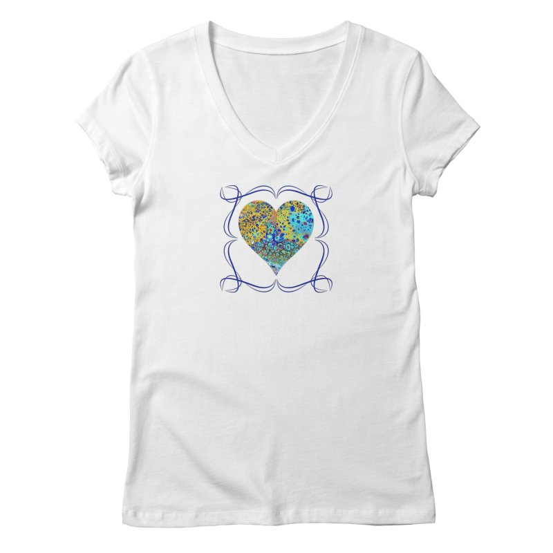 Turquoise Fizz Acrylic Flow Women's V-Neck by Creations of Joy's Artist Shop