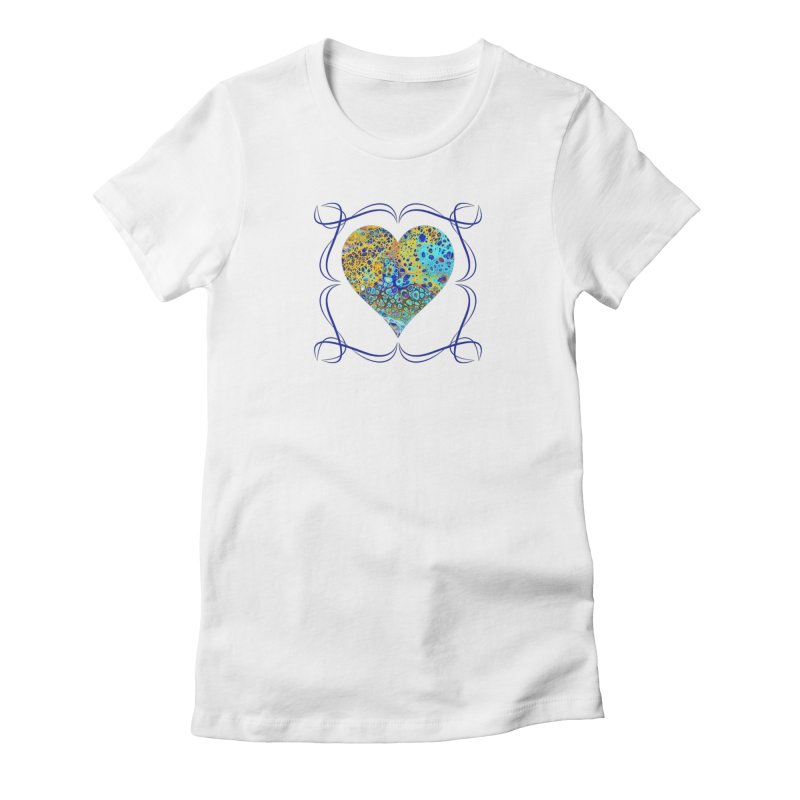 Turquoise Fizz Acrylic Flow Women's Fitted T-Shirt by Creations of Joy's Artist Shop