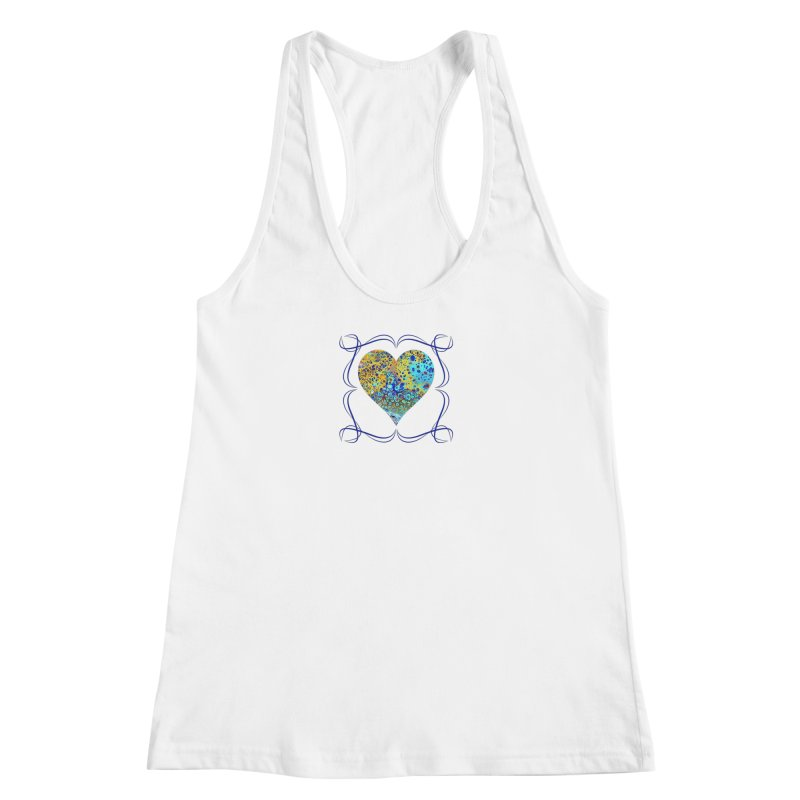 Turquoise Fizz Acrylic Flow in Women's Racerback Tank White by Creations of Joy's Artist Shop