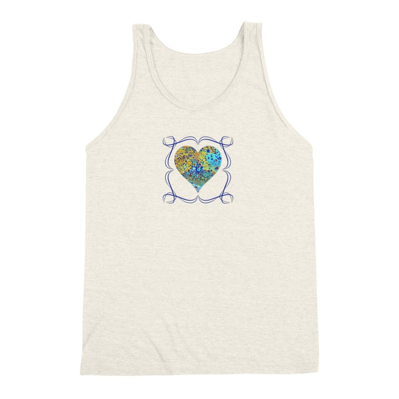 Turquoise Fizz Acrylic Flow Men's Triblend Tank by Creations of Joy's Artist Shop