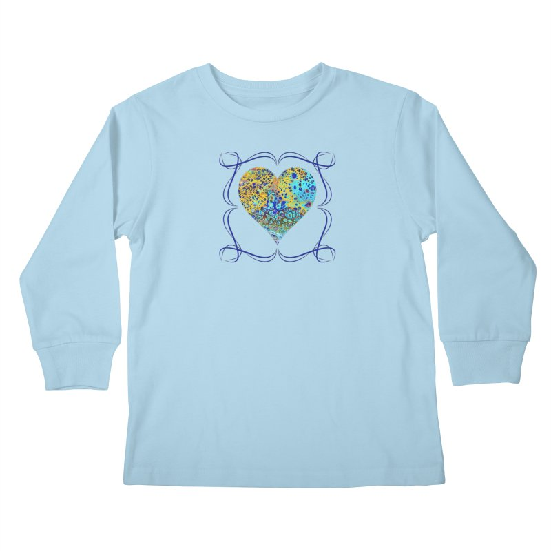 Turquoise Fizz Acrylic Flow Kids Longsleeve T-Shirt by Creations of Joy's Artist Shop
