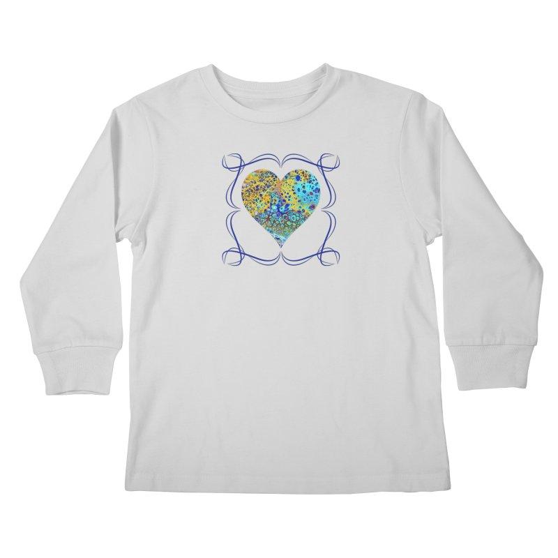 Turquoise Fizz Acrylic Flow Kids Longsleeve T-Shirt by Creations of Joy's Artist Shop