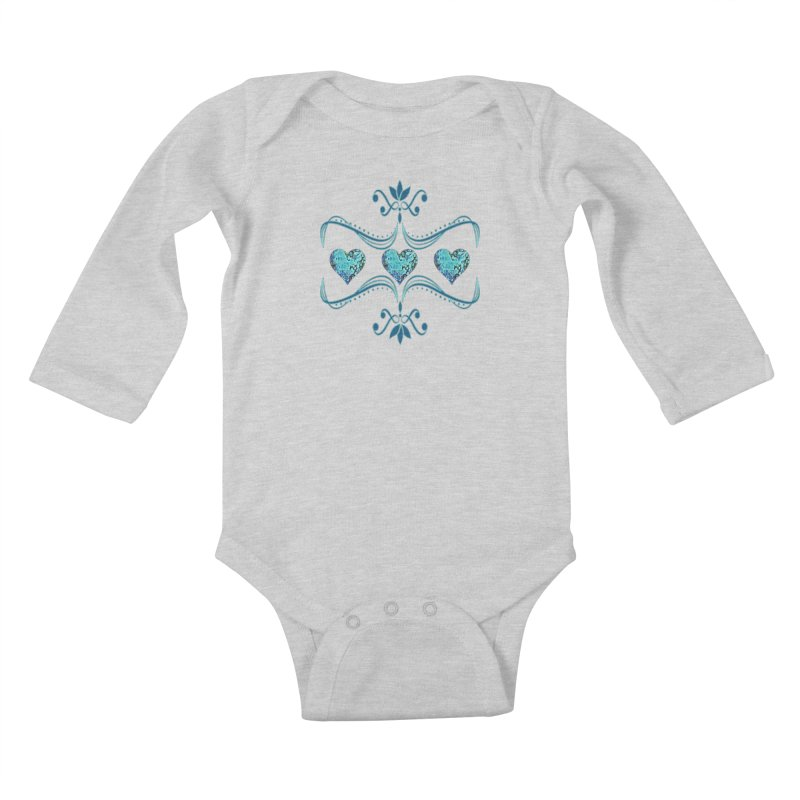 Sea Scape Acrylic Flow Kids Baby Longsleeve Bodysuit by Creations of Joy's Artist Shop