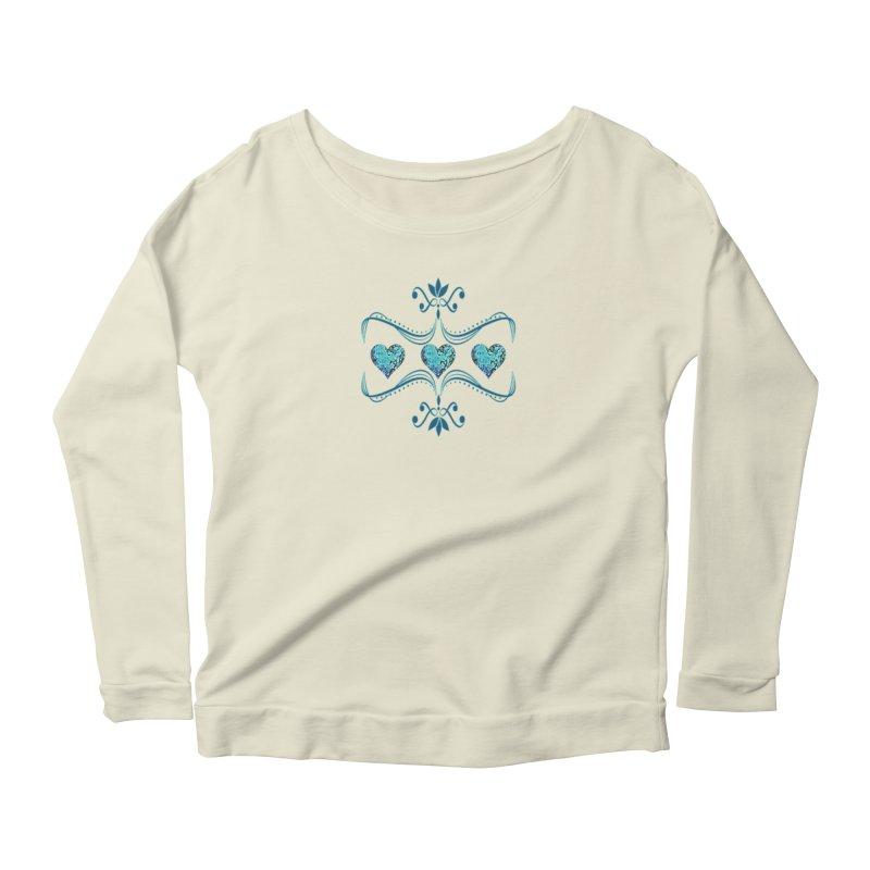 Sea Scape Acrylic Flow Women's Scoop Neck Longsleeve T-Shirt by Creations of Joy's Artist Shop