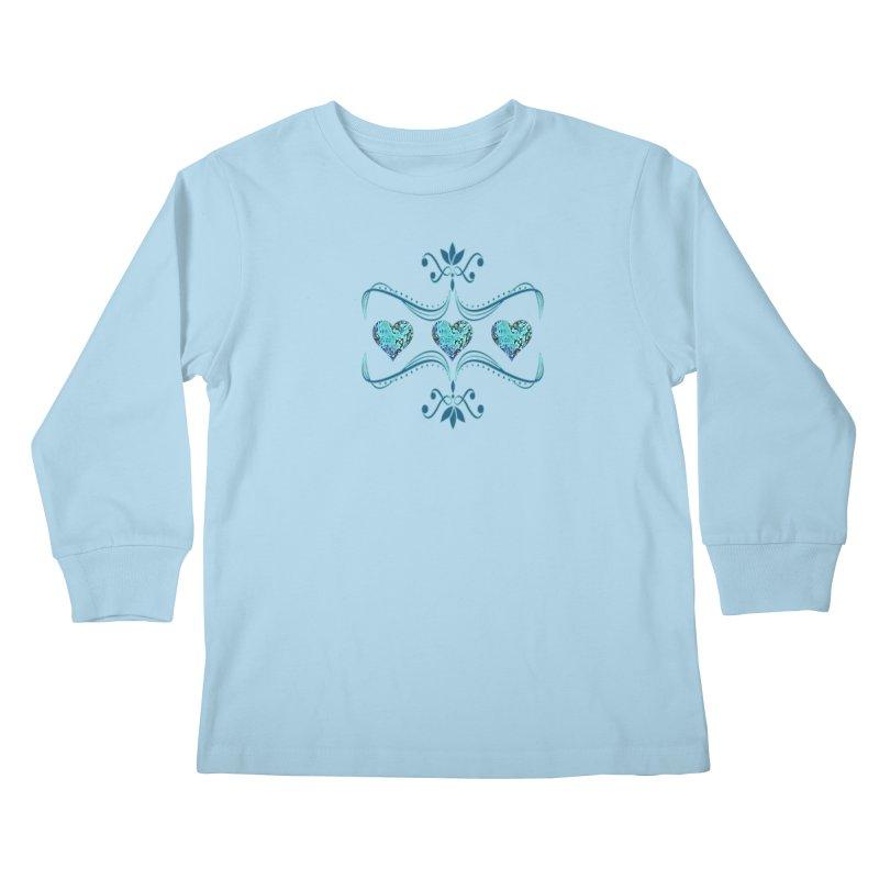 Sea Scape Acrylic Flow Kids Longsleeve T-Shirt by Creations of Joy's Artist Shop