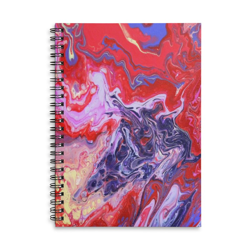Red and Purple Acrylic Flow Accessories Lined Spiral Notebook by Creations of Joy's Artist Shop