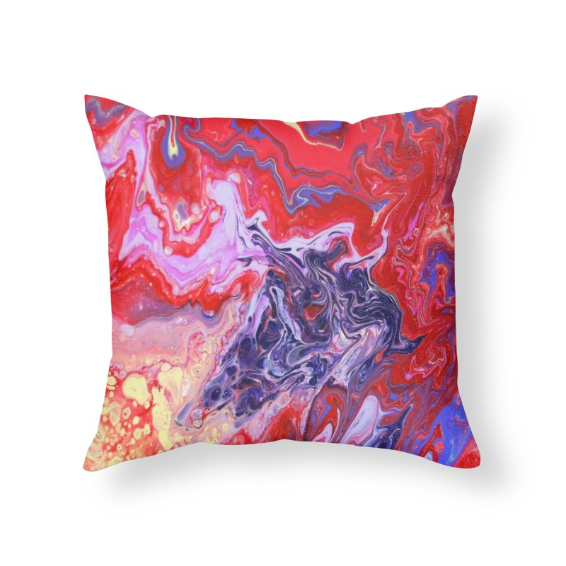 Red and Purple Acrylic Flow Home Throw Pillow by Creations of Joy's Artist Shop