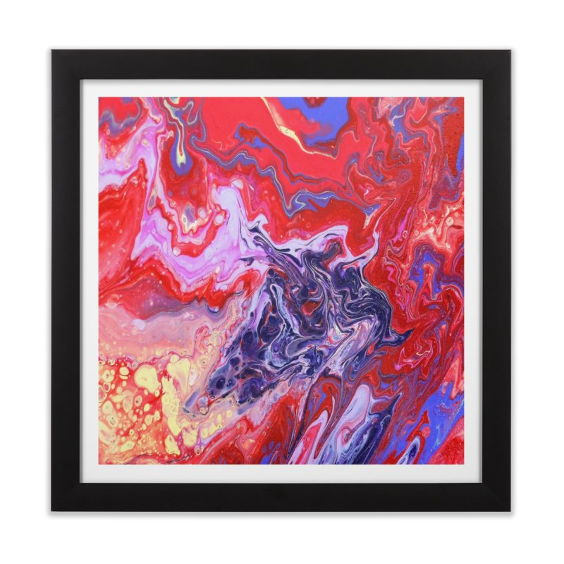 Red and Purple Acrylic Flow Home Framed Fine Art Print by Creations of Joy's Artist Shop