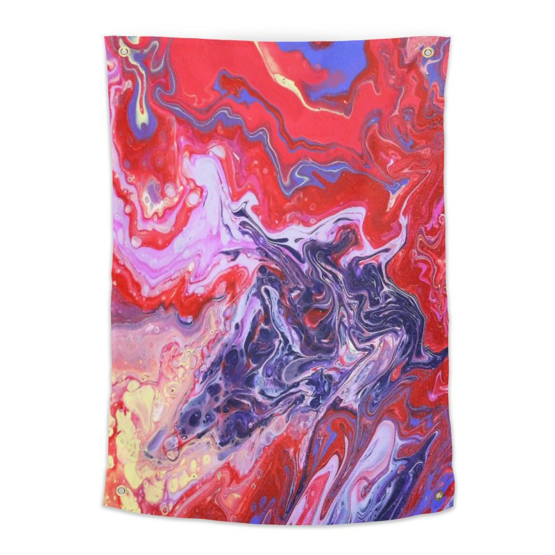 Red and Purple Acrylic Flow Home Tapestry by Creations of Joy's Artist Shop