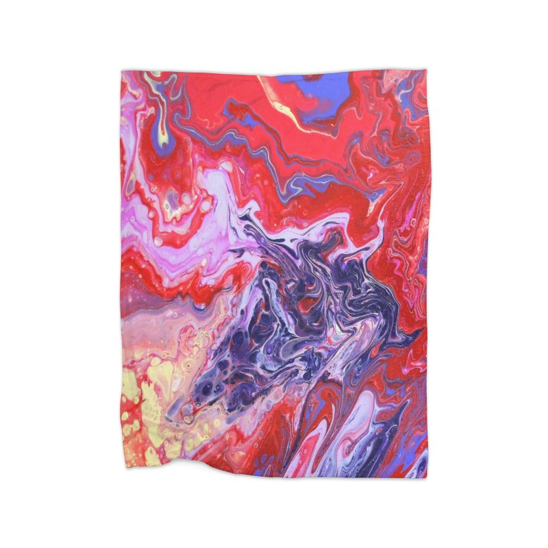 Red and Purple Acrylic Flow Home Fleece Blanket Blanket by Creations of Joy's Artist Shop