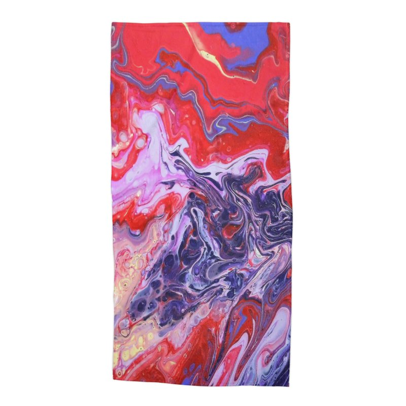 Red and Purple Acrylic Flow Accessories Beach Towel by Creations of Joy's Artist Shop