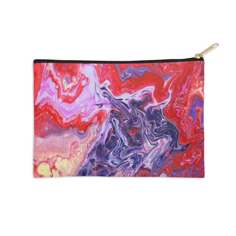 Red and Purple Acrylic Flow Accessories Zip Pouch by Creations of Joy's Artist Shop
