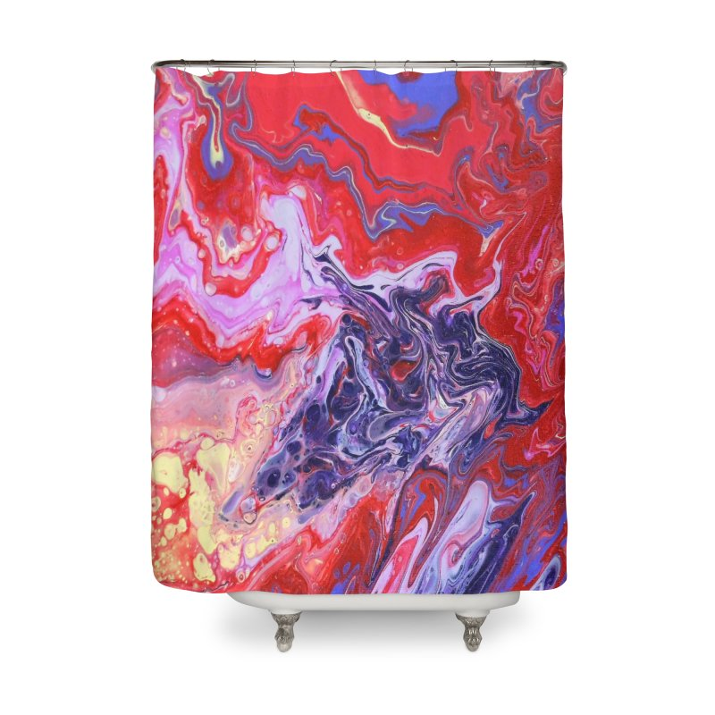Red and Purple Acrylic Flow Home Shower Curtain by Creations of Joy's Artist Shop