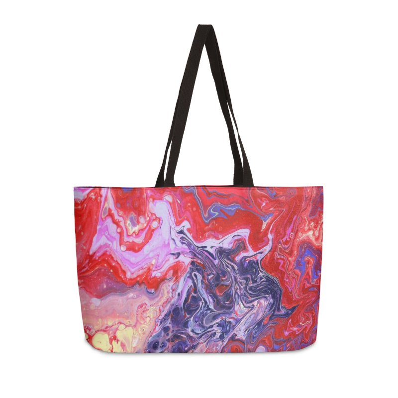 Red and Purple Acrylic Flow Accessories Weekender Bag Bag by Creations of Joy's Artist Shop
