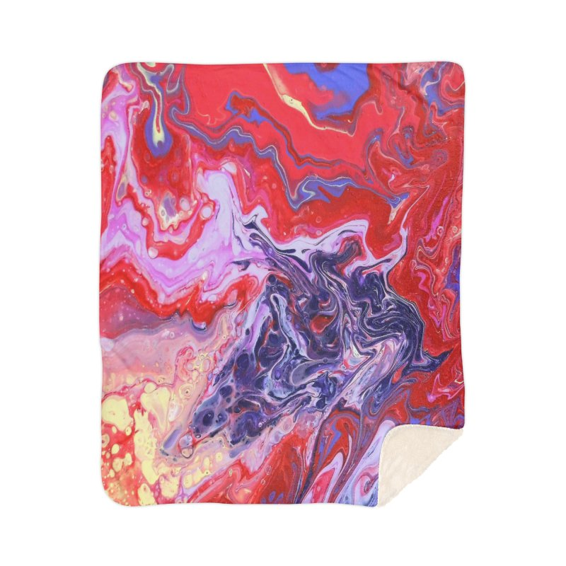 Red and Purple Acrylic Flow Home Sherpa Blanket Blanket by Creations of Joy's Artist Shop