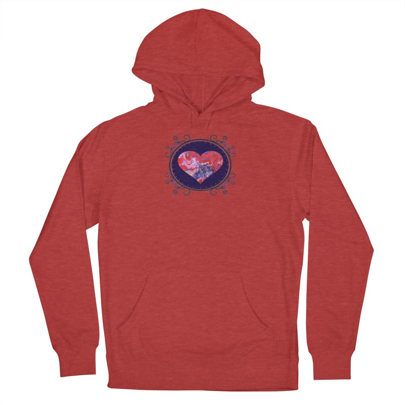 Red and Purple Acrylic Flow Women's French Terry Pullover Hoody by Creations of Joy's Artist Shop