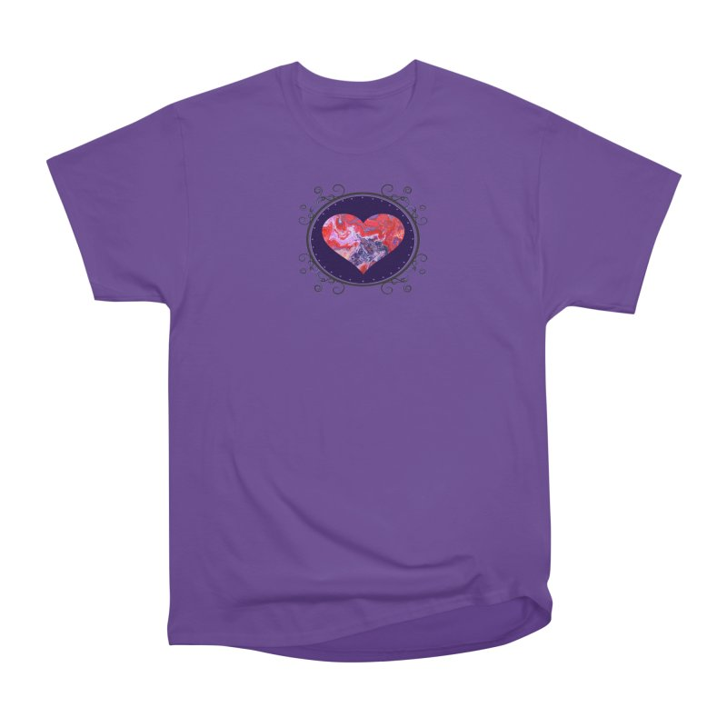 Red and Purple Acrylic Flow Women's Heavyweight Unisex T-Shirt by Creations of Joy's Artist Shop