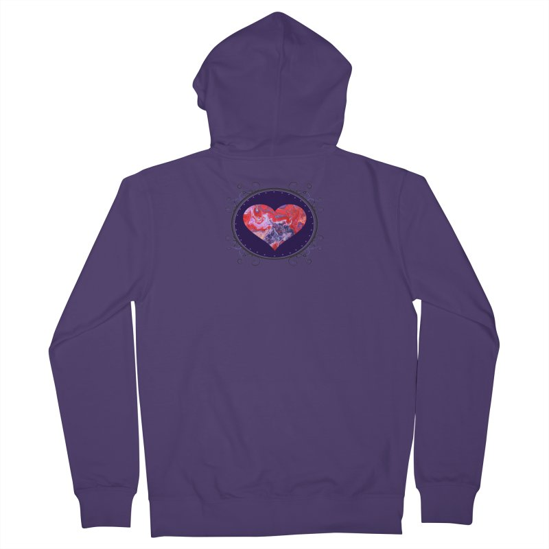Red and Purple Acrylic Flow Women's French Terry Zip-Up Hoody by Creations of Joy's Artist Shop