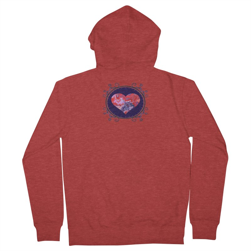 Red and Purple Acrylic Flow Men's French Terry Zip-Up Hoody by Creations of Joy's Artist Shop
