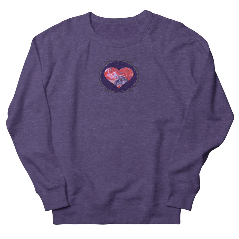 Red and Purple Acrylic Flow Women's French Terry Sweatshirt by Creations of Joy's Artist Shop