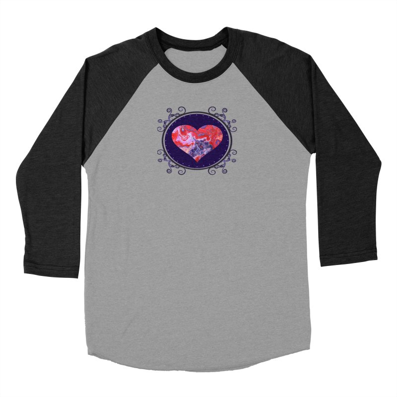 Red and Purple Acrylic Flow Men's Baseball Triblend T-Shirt by Creations of Joy's Artist Shop