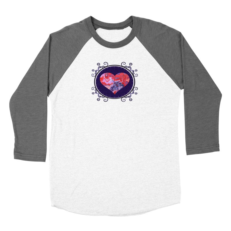 Red and Purple Acrylic Flow Men's Baseball Triblend Longsleeve T-Shirt by Creations of Joy's Artist Shop