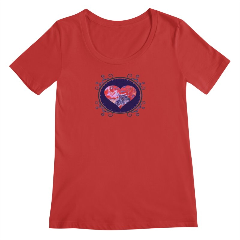 Red and Purple Acrylic Flow Women's Regular Scoop Neck by Creations of Joy's Artist Shop