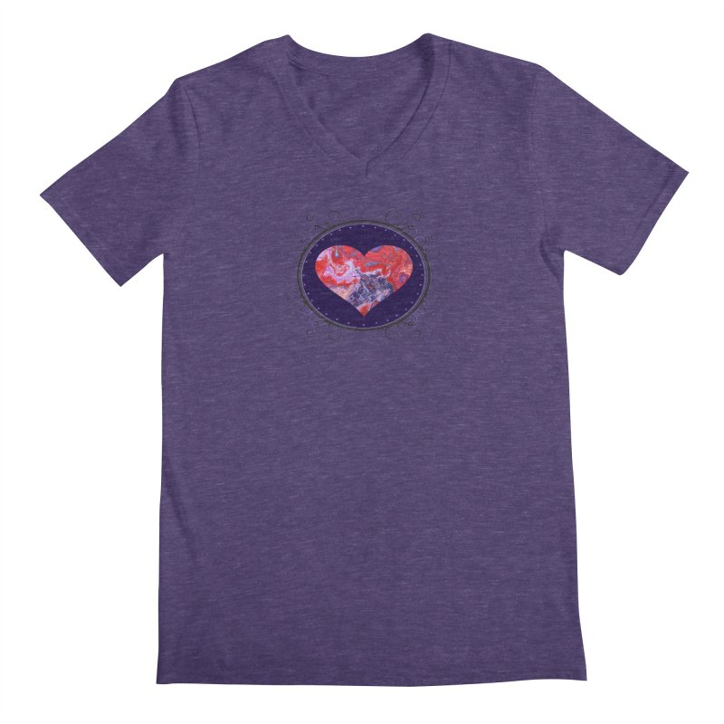 Red and Purple Acrylic Flow Men's V-Neck by Creations of Joy's Artist Shop